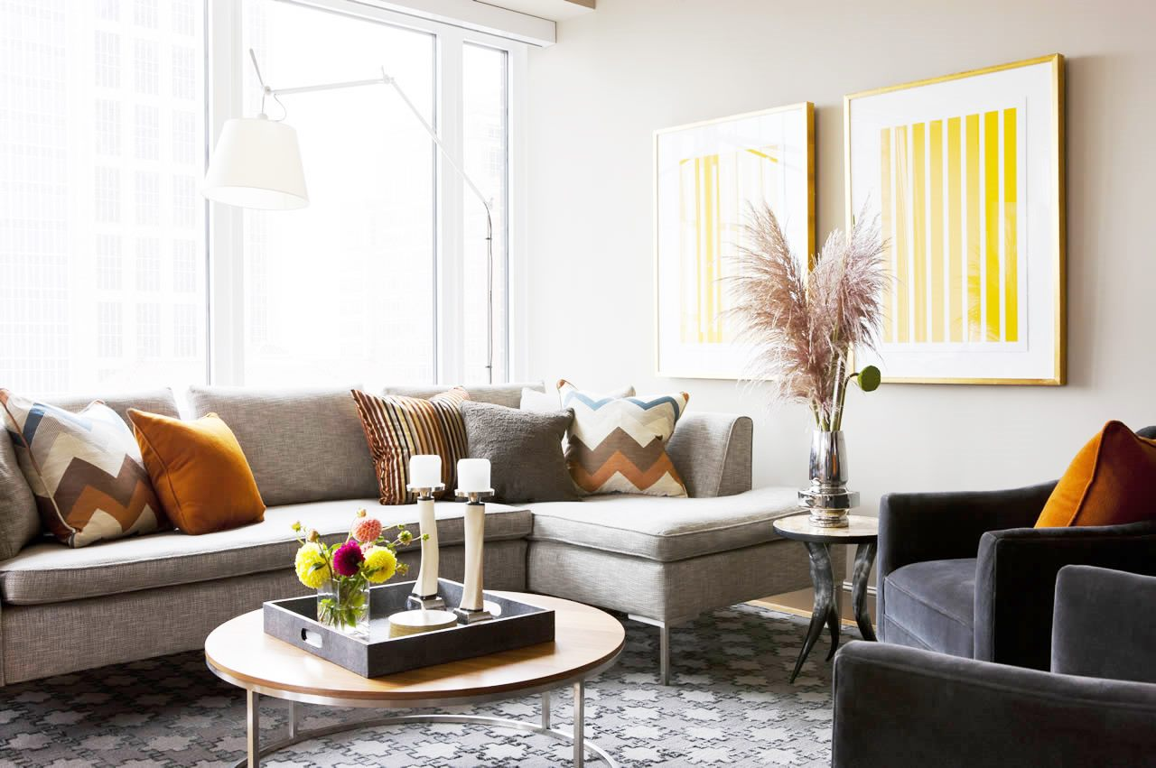 Grey living room yellow accents cococozy terratelms cococozy